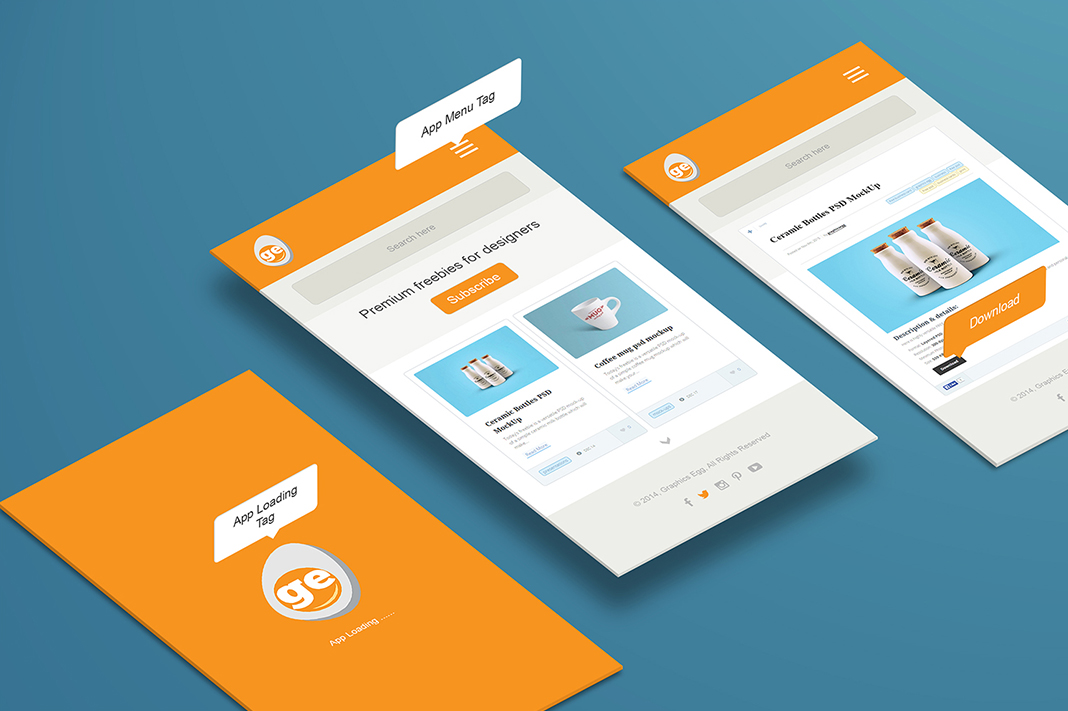 perspective app screen mockup free psd graphicsegg