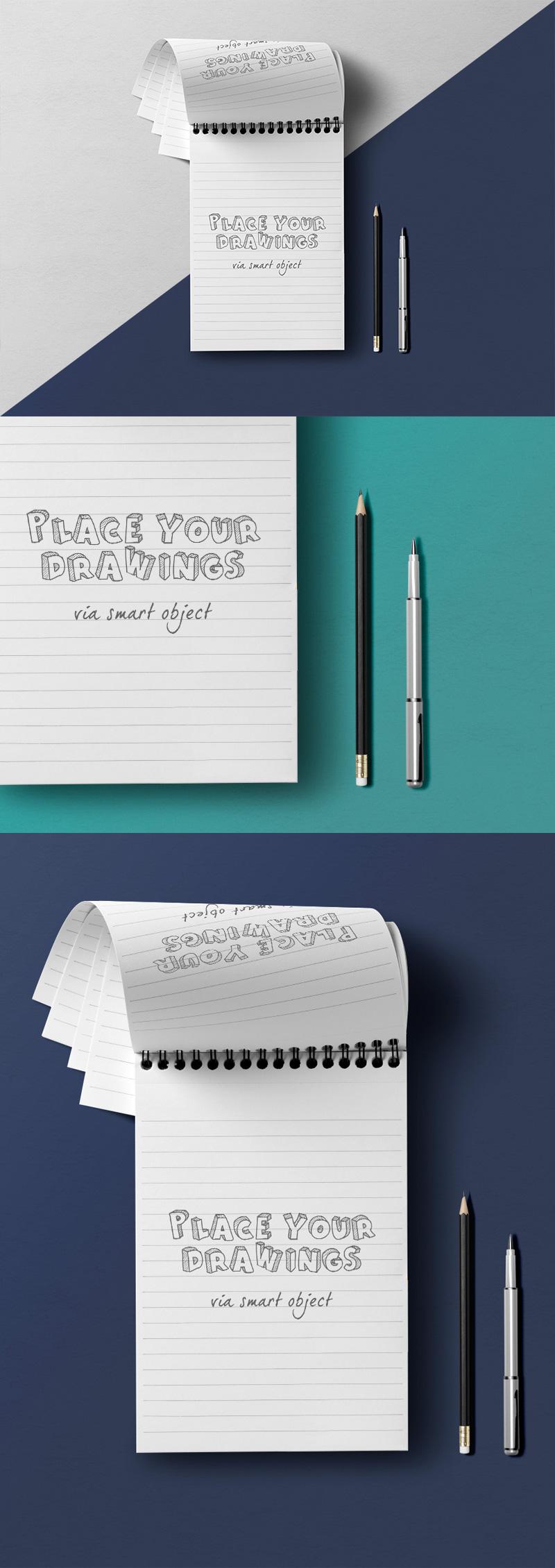 notepad overhead view mockup