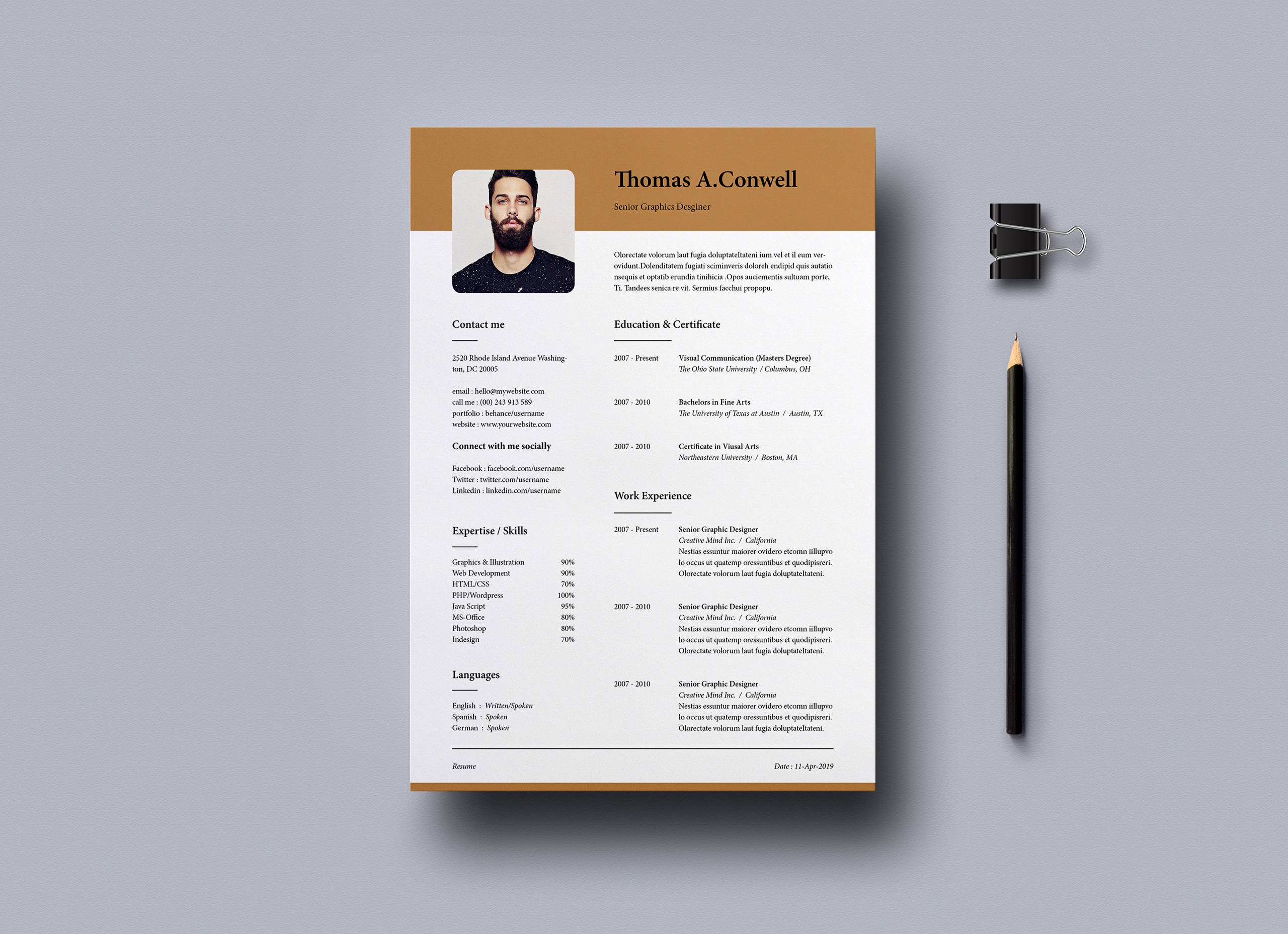 Resume Template Vol 09 Free Graphicsegg